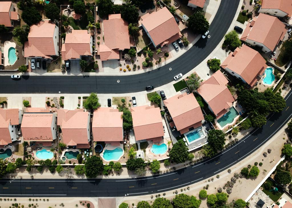suburb with pools